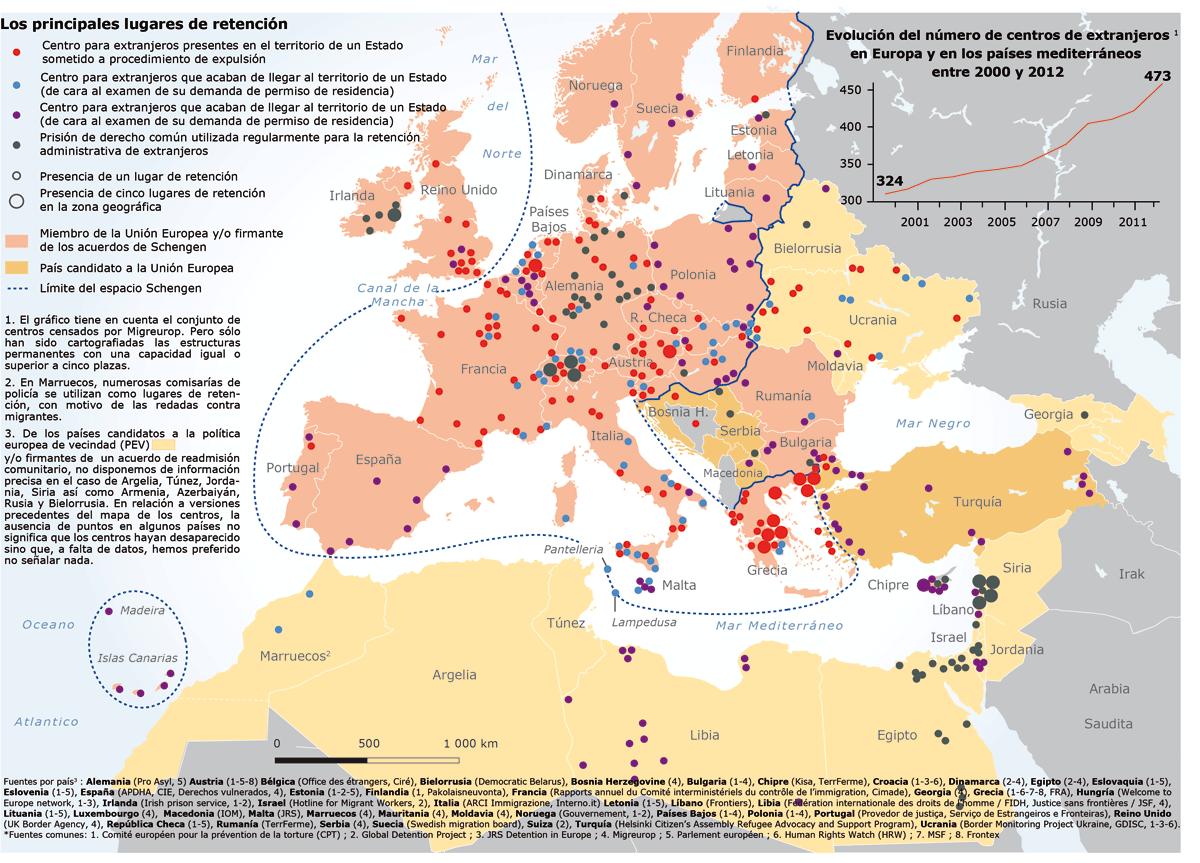 Mappa dei CIE in Europa
