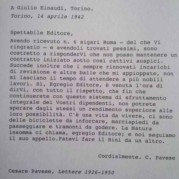 Cesare Pavese, bicida inforcare, tramonti da godere